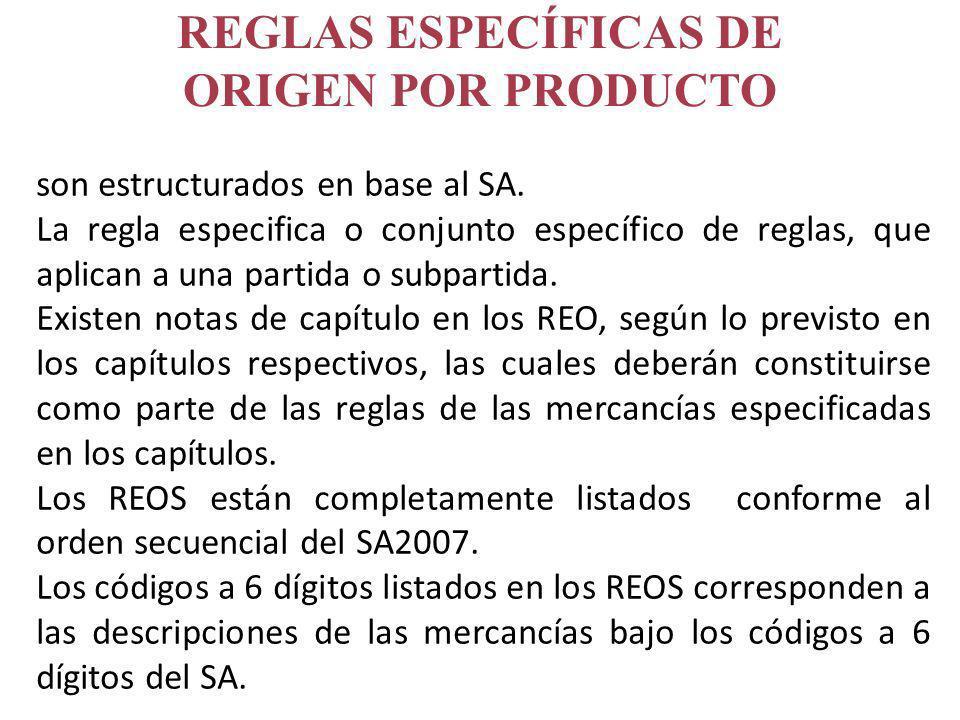 REGLAS ESPECÍFICAS DE ORIGEN POR PRODUCTO