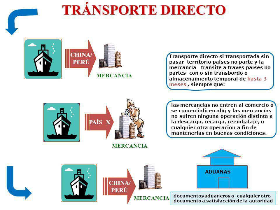 TRÁNSPORTE DIRECTO CHINA/ PERÚ PAÌS X CHINA/ PERÚ MERCANCIA MERCANCIA