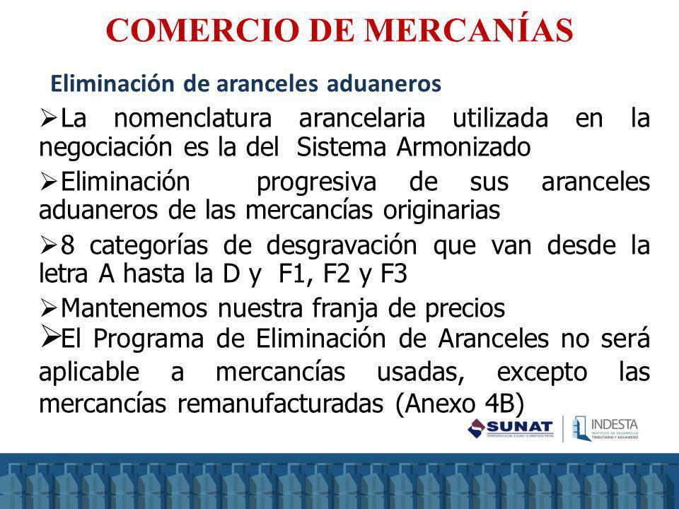 COMERCIO DE MERCANÍAS Eliminación de aranceles aduaneros
