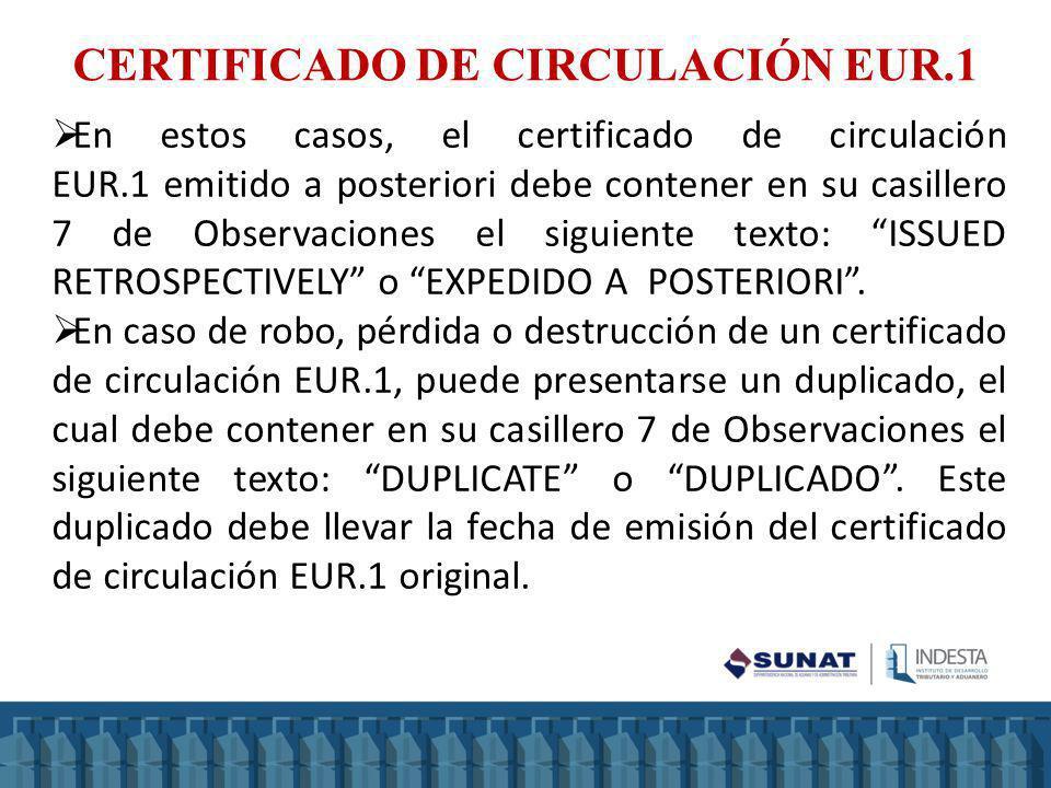 CERTIFICADO DE CIRCULACIÓN EUR.1