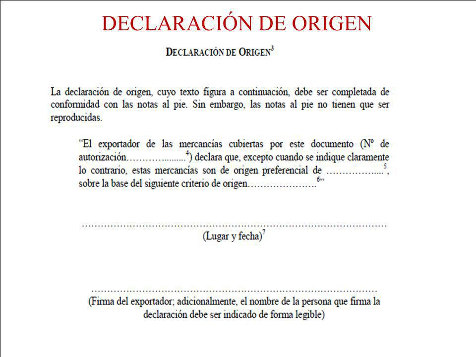 DECLARACIÓN DE ORIGEN