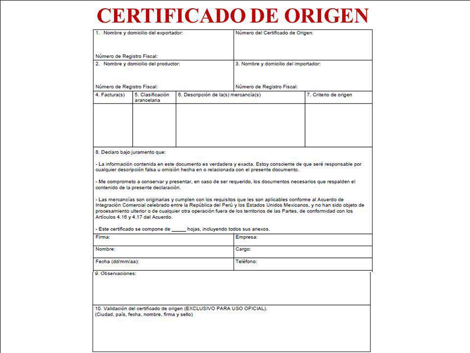 CERTIFICADO DE ORIGEN Japón adicionalmente tiene las CD P y Q