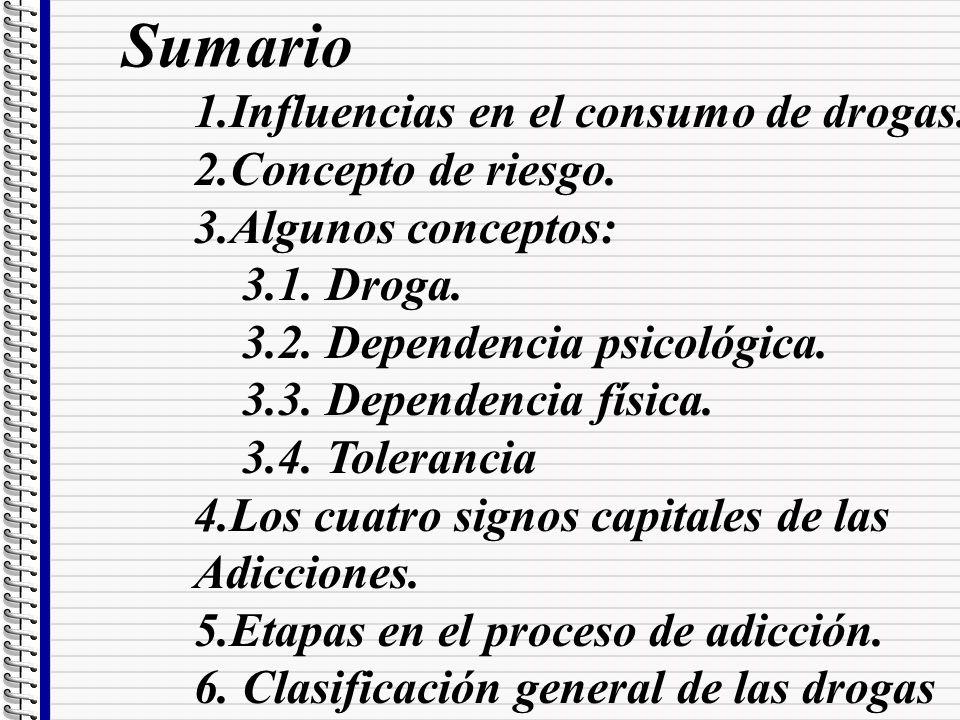 Sumario 1.Influencias en el consumo de drogas. 2.Concepto de riesgo.