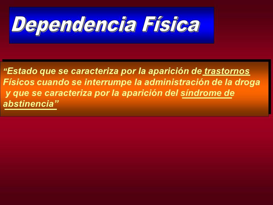Dependencia Física Estado que se caracteriza por la aparición de trastornos. Físicos cuando se interrumpe la administración de la droga.