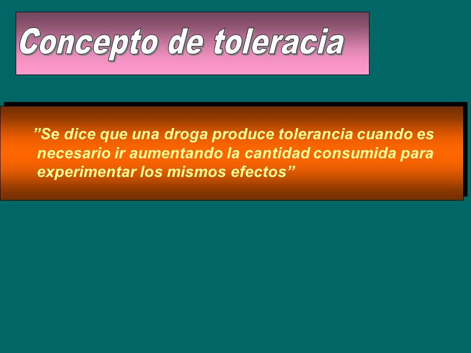 Concepto de toleracia Se dice que una droga produce tolerancia cuando es. necesario ir aumentando la cantidad consumida para.