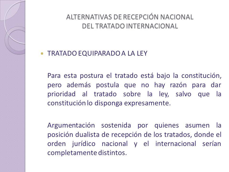 ALTERNATIVAS DE RECEPCIÓN NACIONAL DEL TRATADO INTERNACIONAL
