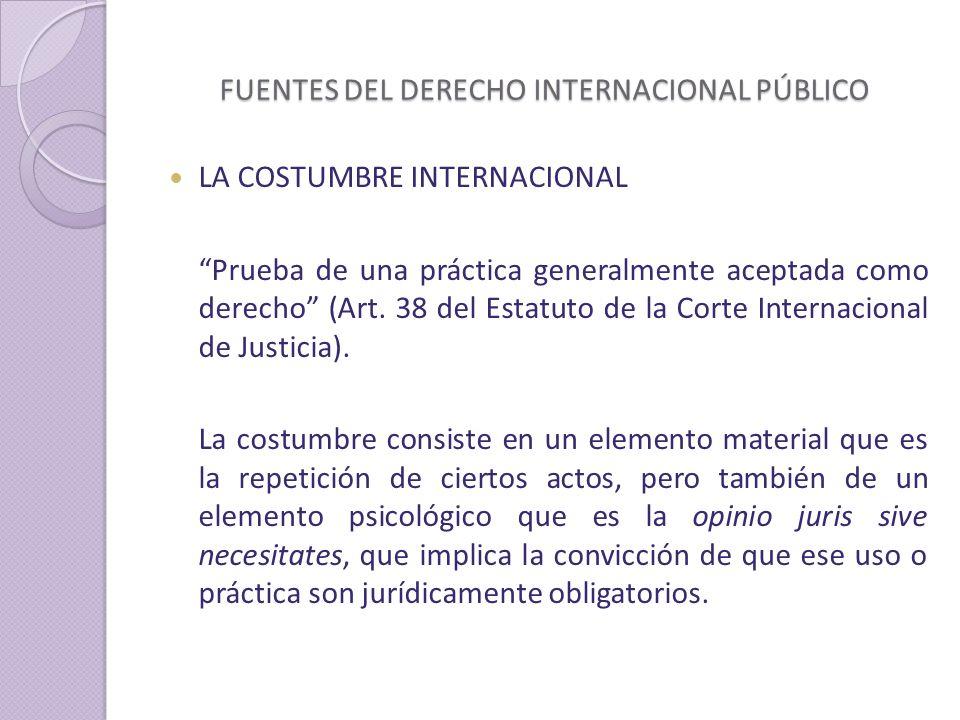 FUENTES DEL DERECHO INTERNACIONAL PÚBLICO