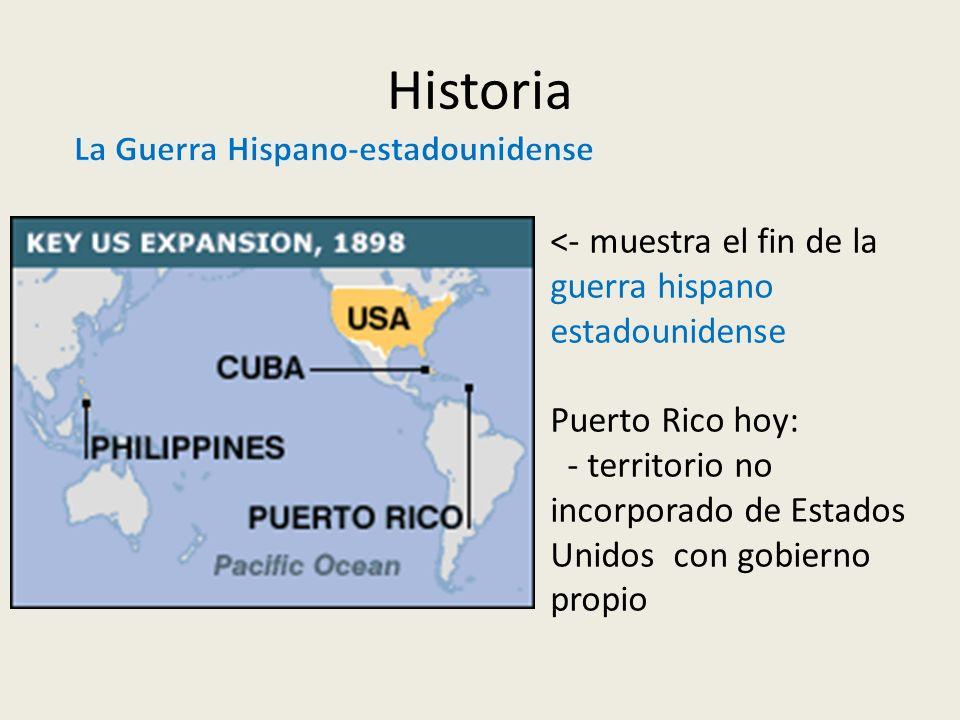 Historia <- muestra el fin de la guerra hispano estadounidense