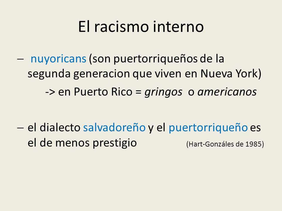 El racismo interno nuyoricans (son puertorriqueños de la segunda generacion que viven en Nueva York)