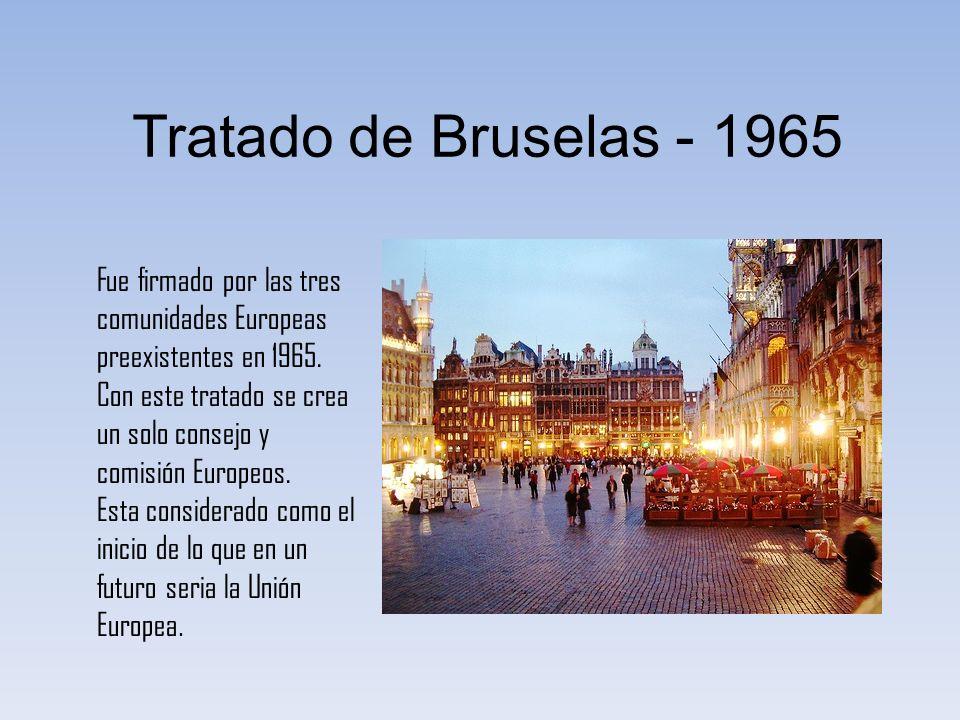 Tratado de Bruselas - 1965 Fue firmado por las tres comunidades Europeas preexistentes en 1965.