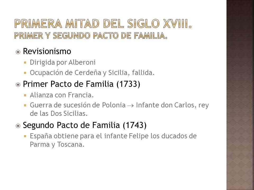 Primera mitad del siglo XVIII. Primer y segundo pacto de Familia.