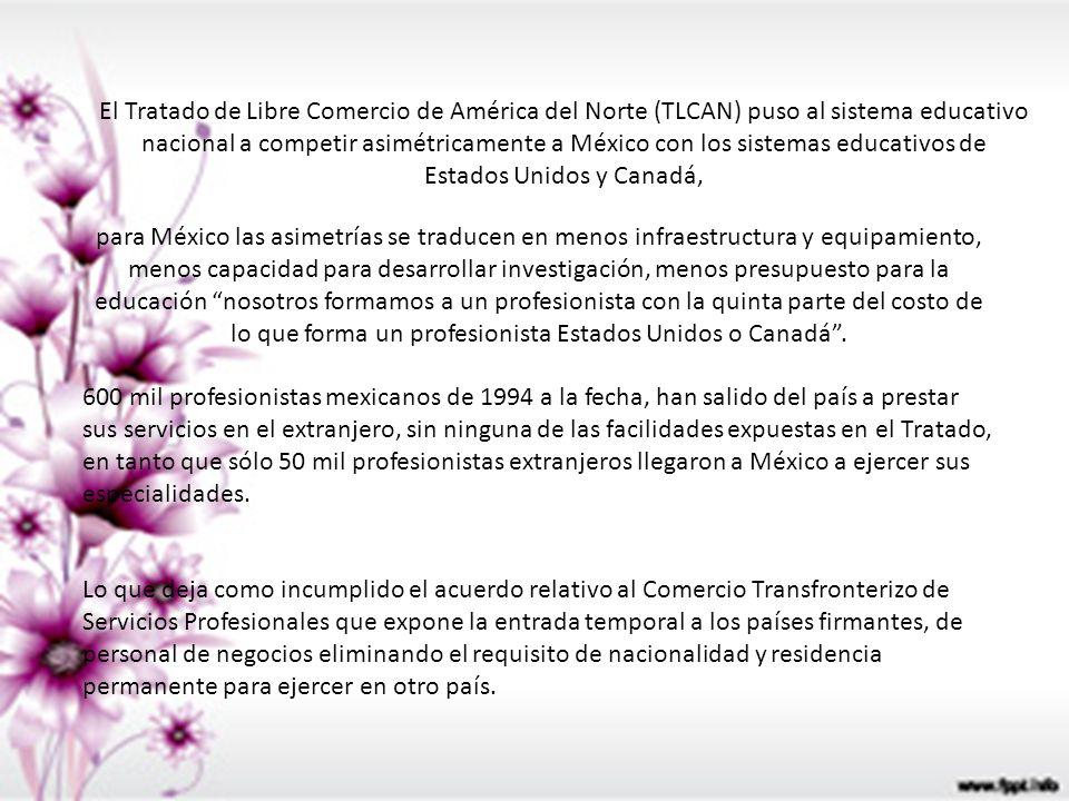 El Tratado de Libre Comercio de América del Norte (TLCAN) puso al sistema educativo nacional a competir asimétricamente a México con los sistemas educativos de Estados Unidos y Canadá,
