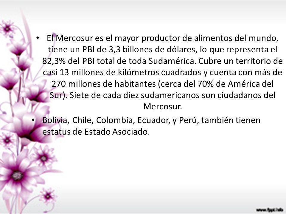 El Mercosur es el mayor productor de alimentos del mundo, tiene un PBI de 3,3 billones de dólares, lo que representa el 82,3% del PBI total de toda Sudamérica. Cubre un territorio de casi 13 millones de kilómetros cuadrados y cuenta con más de 270 millones de habitantes (cerca del 70% de América del Sur). Siete de cada diez sudamericanos son ciudadanos del Mercosur.