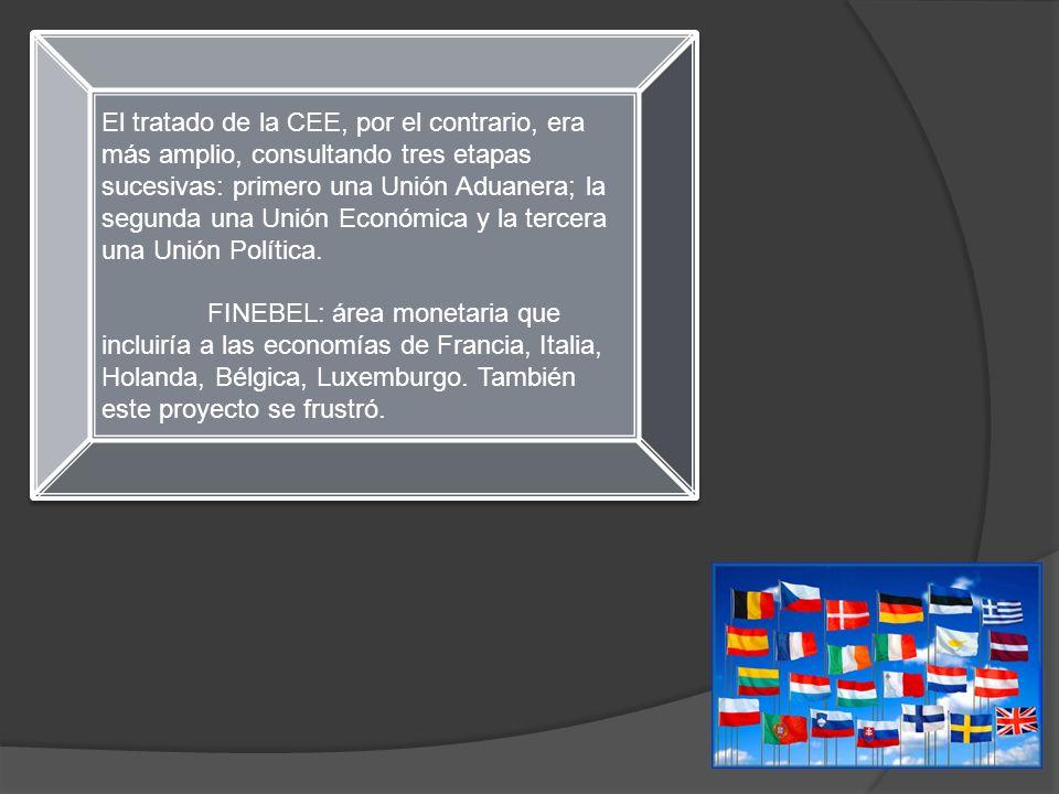 El tratado de la CEE, por el contrario, era más amplio, consultando tres etapas sucesivas: primero una Unión Aduanera; la segunda una Unión Económica y la tercera una Unión Política.