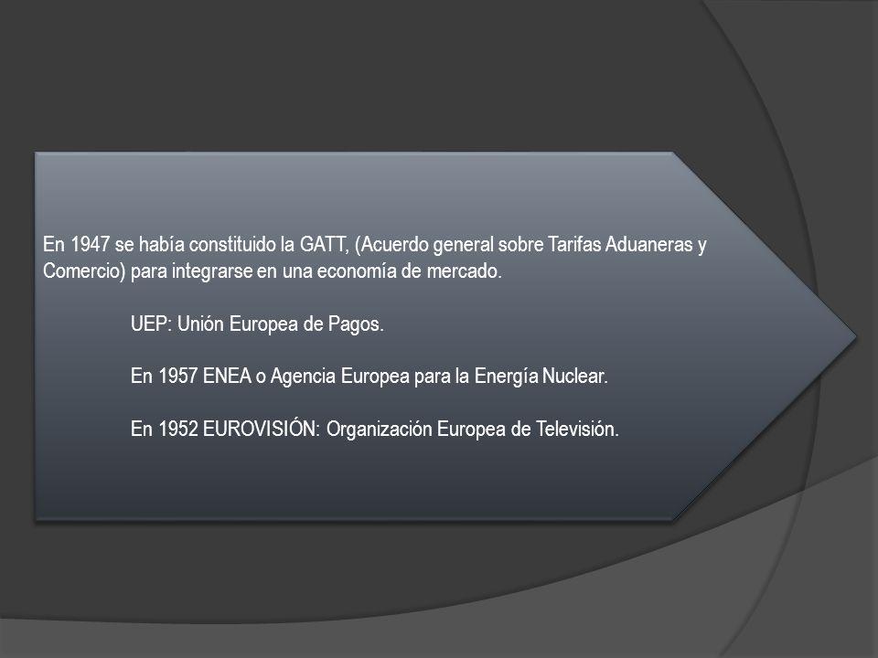 En 1947 se había constituido la GATT, (Acuerdo general sobre Tarifas Aduaneras y Comercio) para integrarse en una economía de mercado.