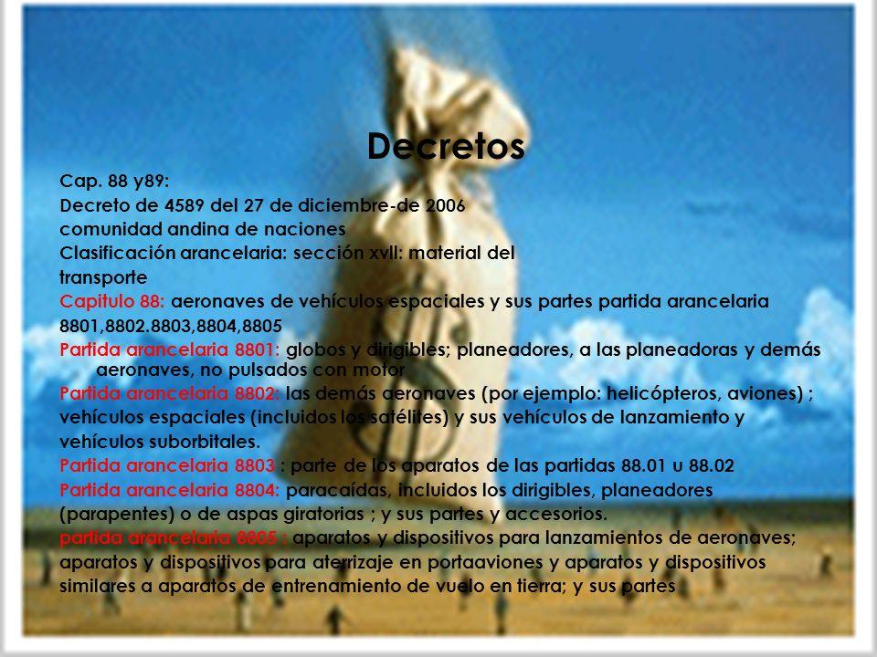 Aranceles Decretos Cap. 88 y89:
