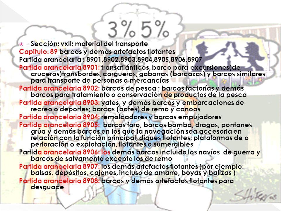 Capitulo 89 Sección: vxll: material del transporte