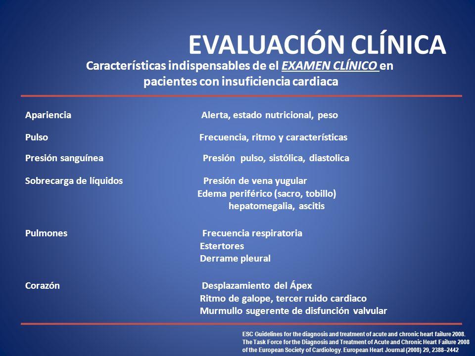 EVALUACIÓN CLÍNICA Características indispensables de el examen clínico en. pacientes con insuficiencia cardiaca.