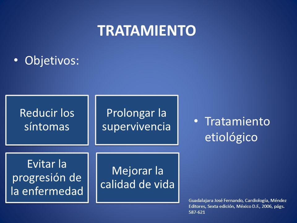 TRATAMIENTO Objetivos: Tratamiento etiológico Reducir los síntomas