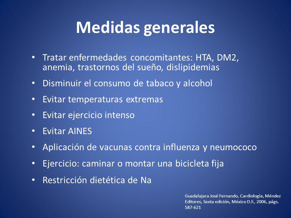 Medidas generales Tratar enfermedades concomitantes: HTA, DM2, anemia, trastornos del sueño, dislipidemias.