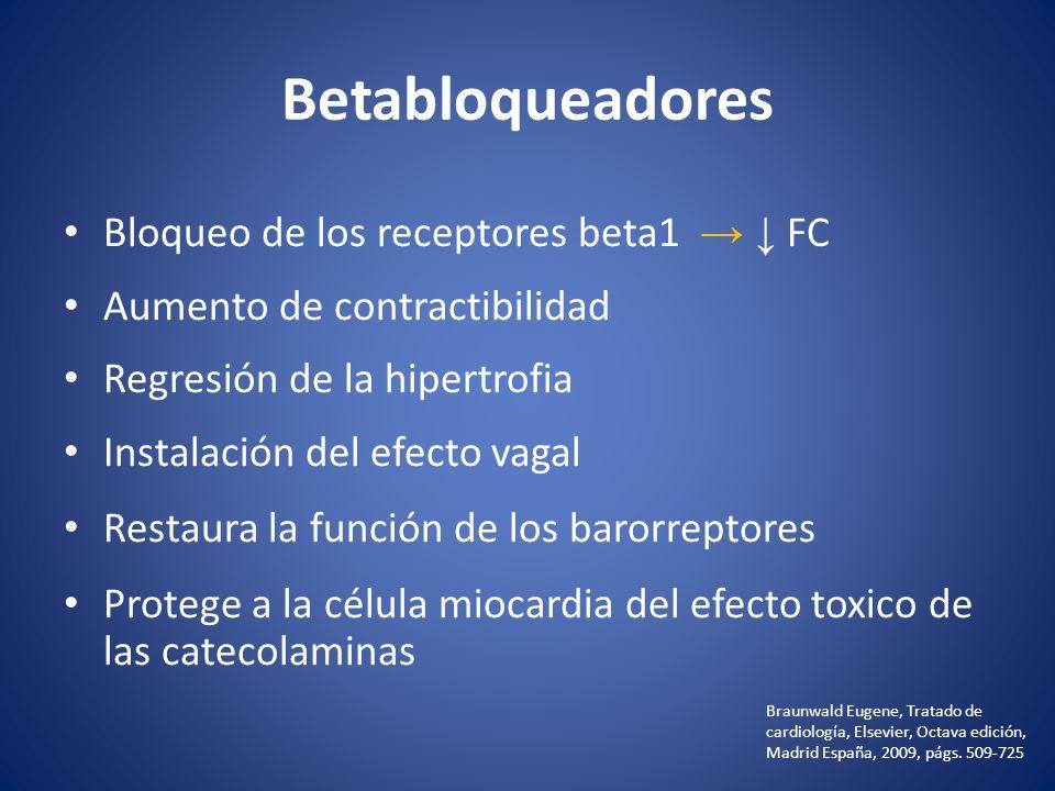 Betabloqueadores Bloqueo de los receptores beta1 → ↓ FC