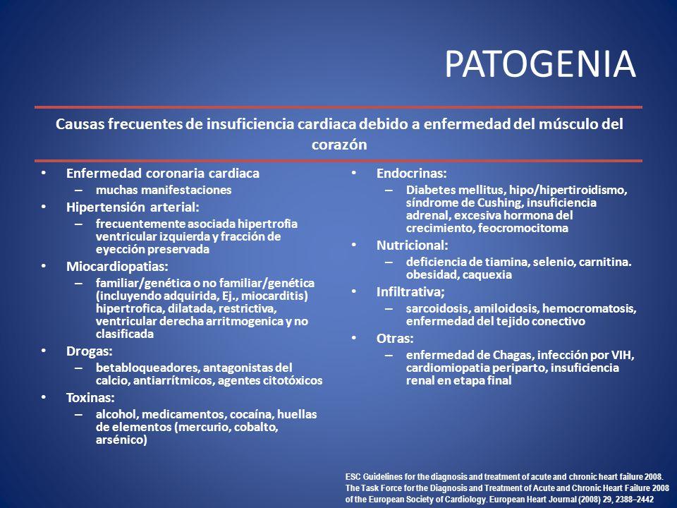PATOGENIA Enfermedad coronaria cardiaca. muchas manifestaciones. Hipertensión arterial: