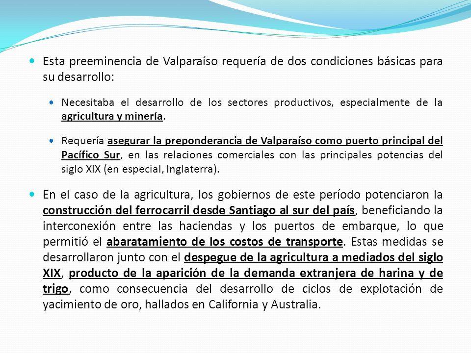 Esta preeminencia de Valparaíso requería de dos condiciones básicas para su desarrollo: