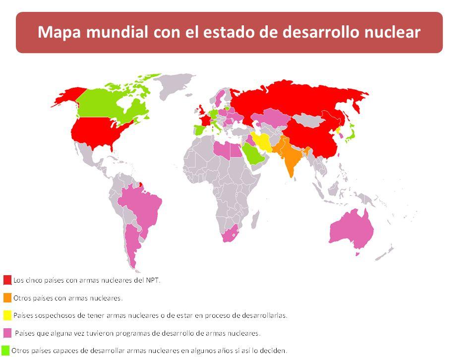 Mapa mundial con el estado de desarrollo nuclear