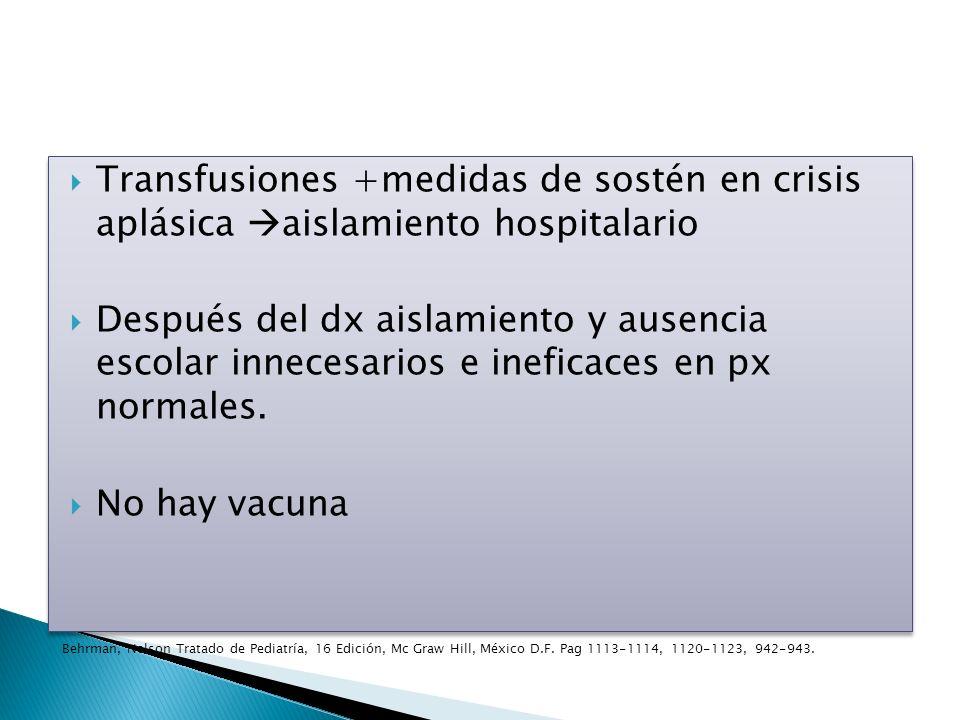 Transfusiones +medidas de sostén en crisis aplásica aislamiento hospitalario