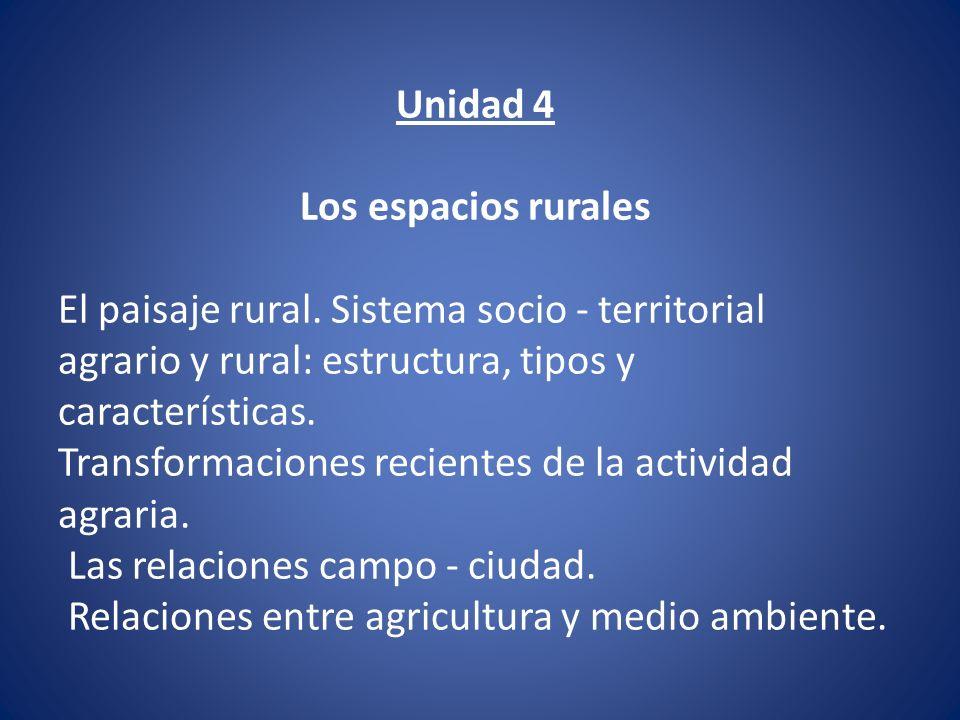 Unidad 4 Los espacios rurales. El paisaje rural. Sistema socio - territorial agrario y rural: estructura, tipos y características.