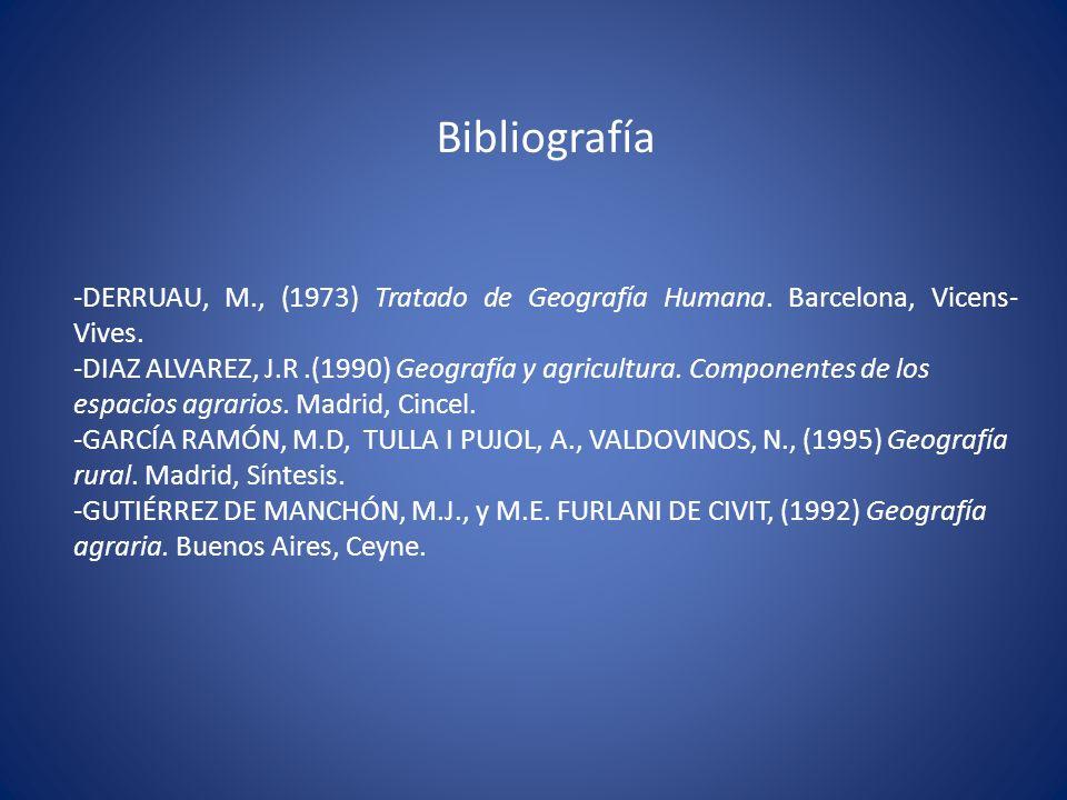 Bibliografía -DERRUAU, M., (1973) Tratado de Geografía Humana. Barcelona, Vicens-Vives.