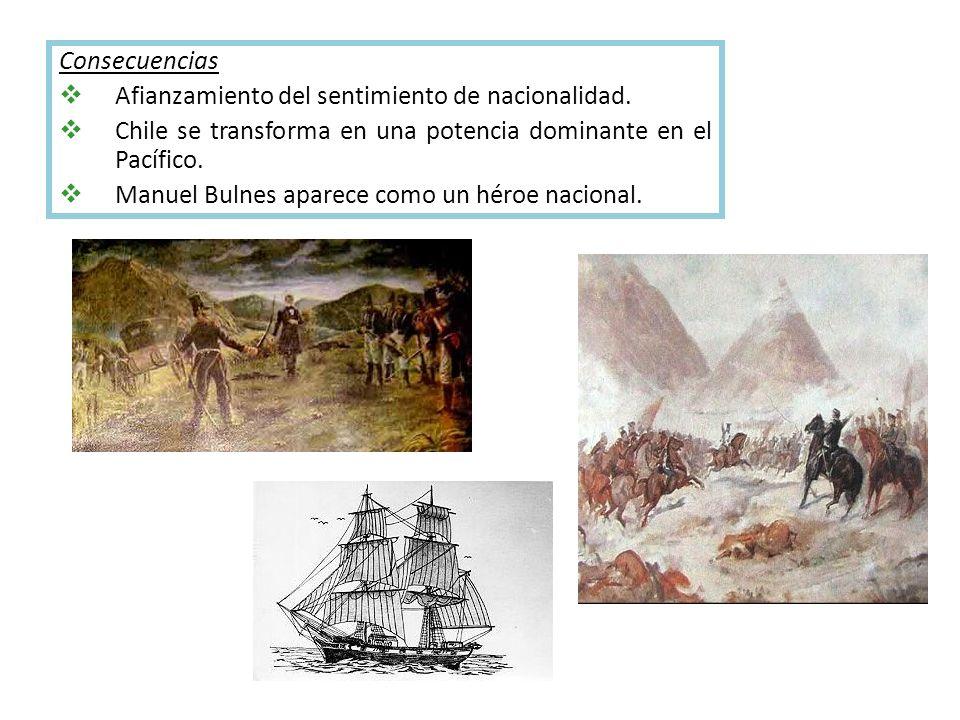 Consecuencias Afianzamiento del sentimiento de nacionalidad. Chile se transforma en una potencia dominante en el Pacífico.
