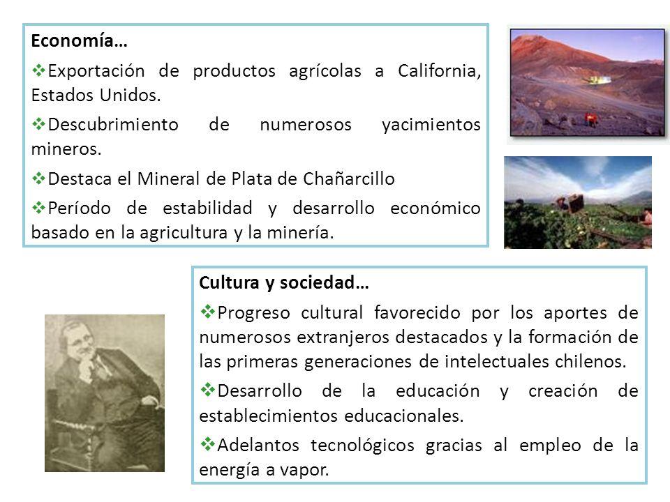 Economía… Exportación de productos agrícolas a California, Estados Unidos. Descubrimiento de numerosos yacimientos mineros.