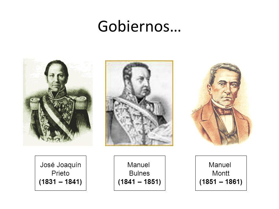 Gobiernos… José Joaquín Prieto (1831 – 1841) Manuel Bulnes