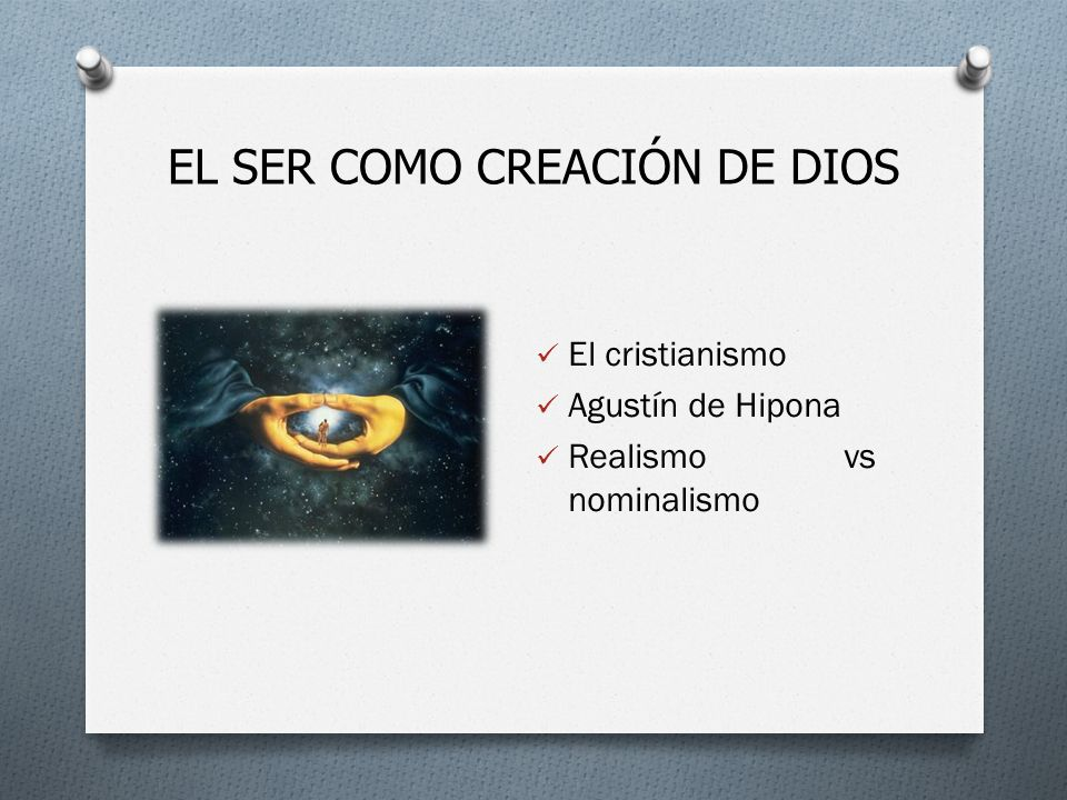 EL SER COMO CREACIÓN DE DIOS