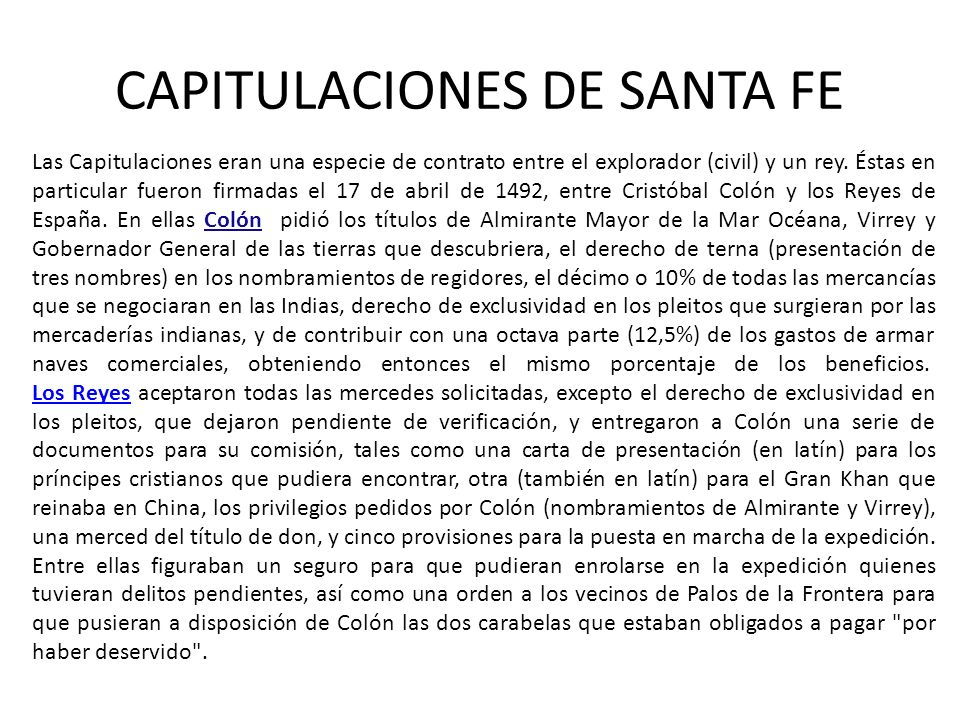 CAPITULACIONES DE SANTA FE