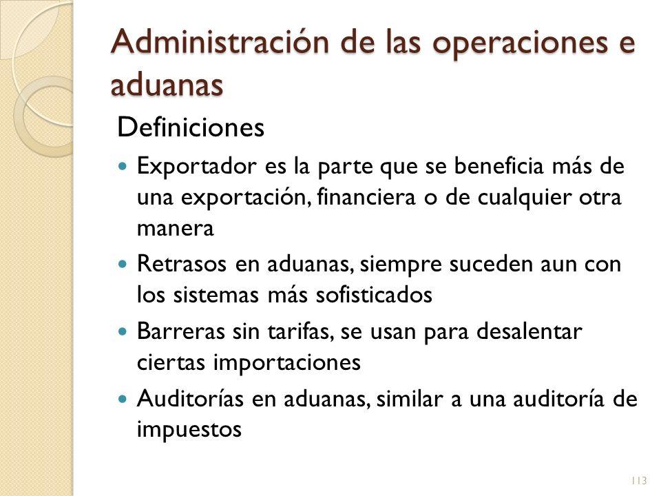 Administración de las operaciones e aduanas