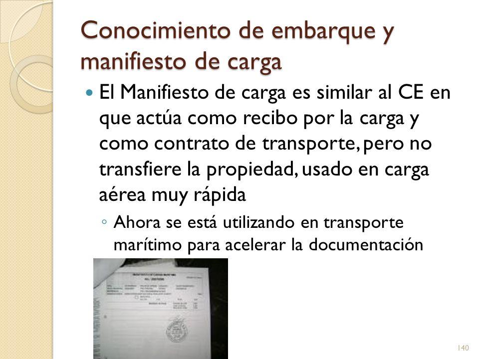 Conocimiento de embarque y manifiesto de carga