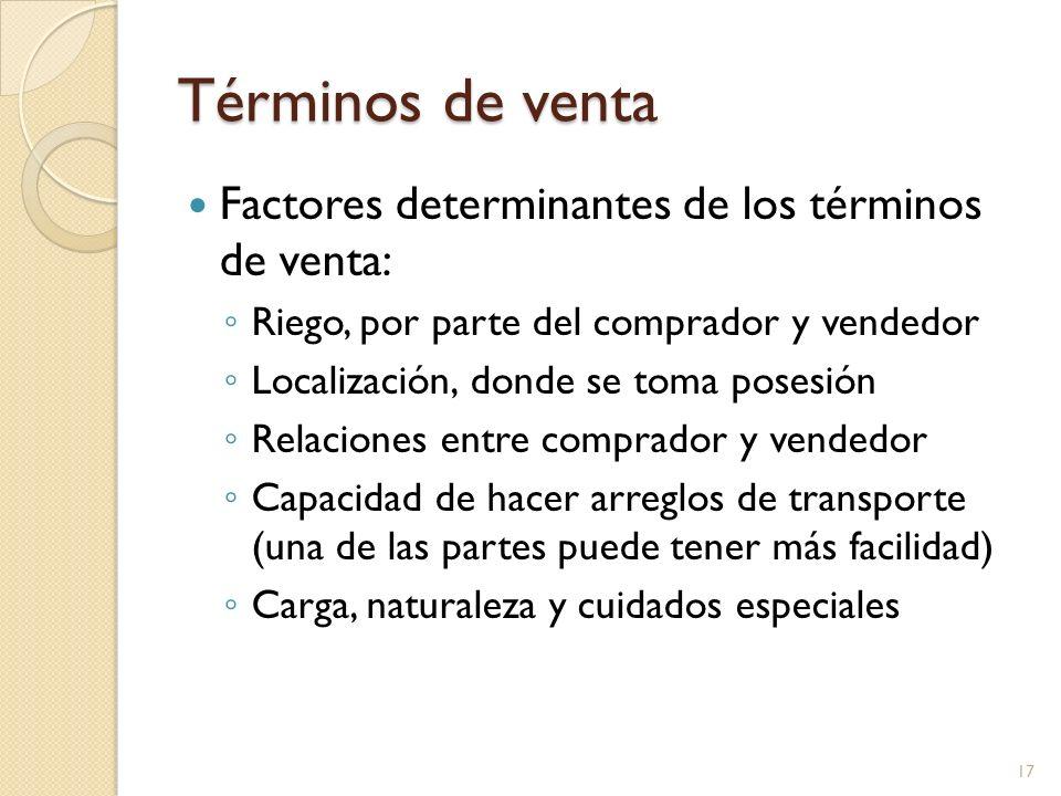 Términos de venta Factores determinantes de los términos de venta: