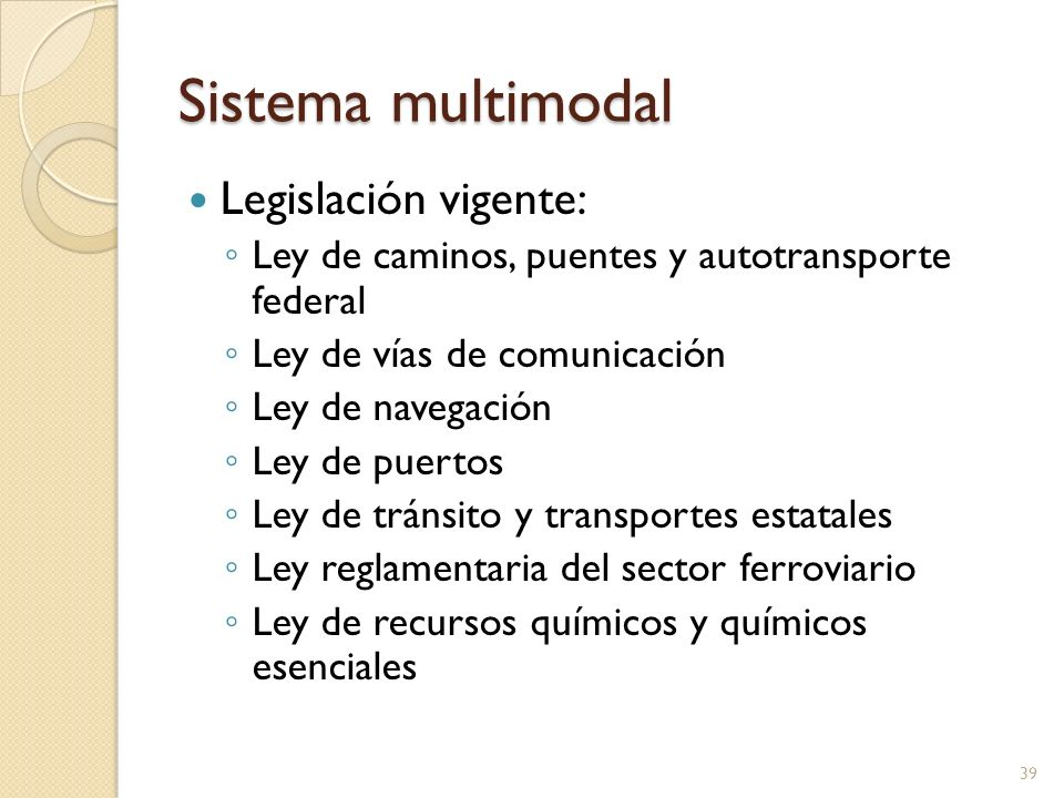 Sistema multimodal Legislación vigente: