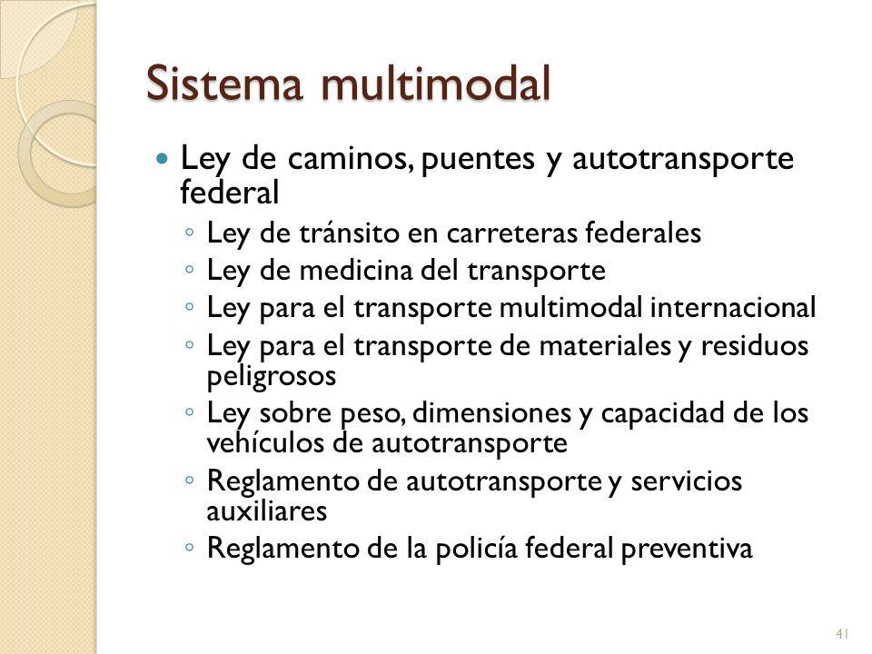 Sistema multimodal Ley de caminos, puentes y autotransporte federal