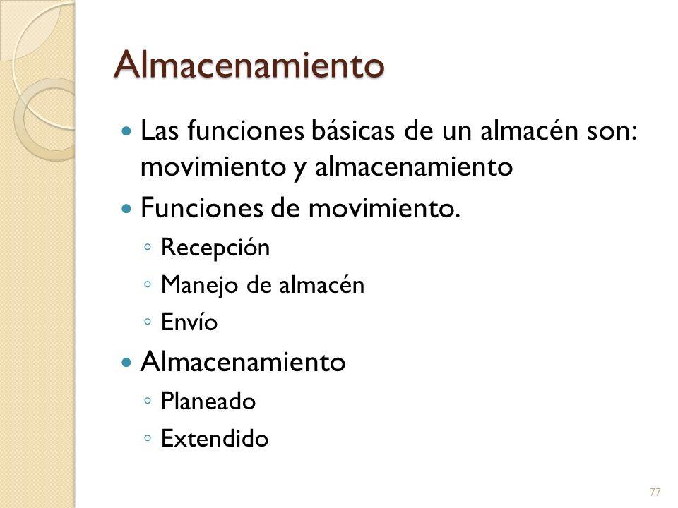 Almacenamiento Las funciones básicas de un almacén son: movimiento y almacenamiento. Funciones de movimiento.