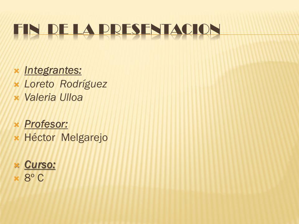 FIN DE LA PRESENTACION Integrantes: Loreto Rodríguez Valeria Ulloa