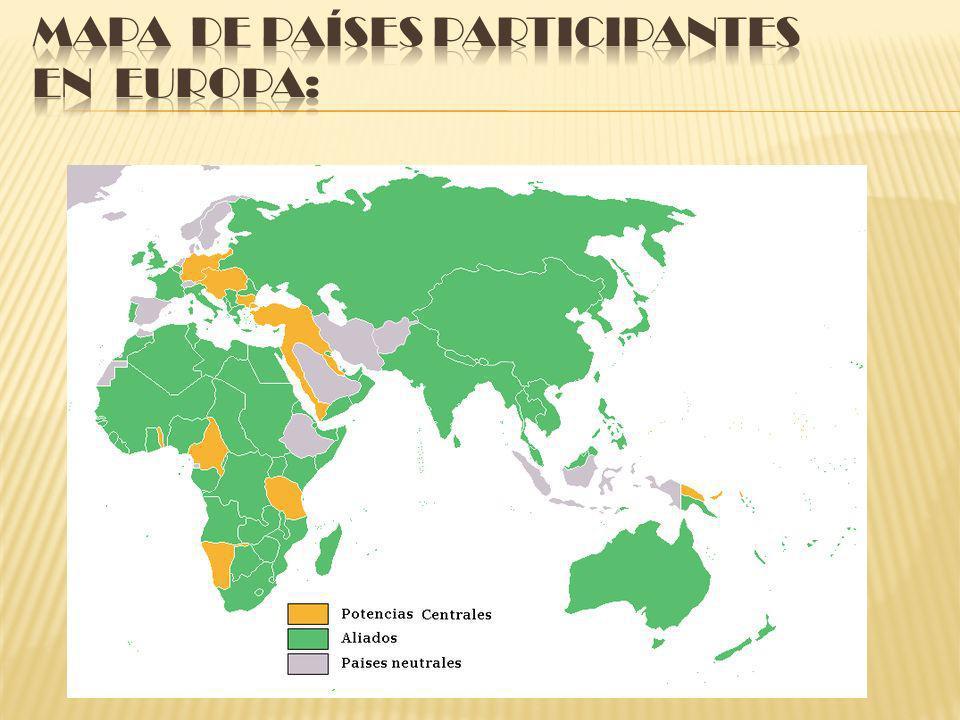 Mapa de países participantes en Europa: