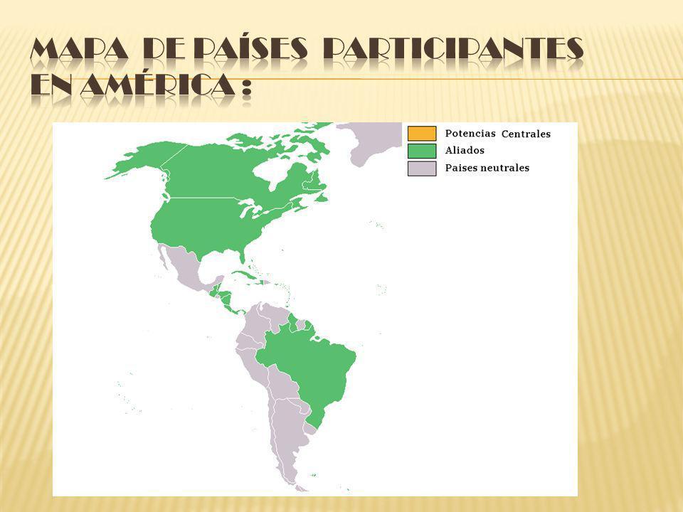 Mapa de países participantes en América :
