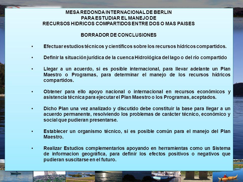 MESA REDONDA INTERNACIONAL DE BERLIN PARA ESTUDIAR EL MANEJO DE