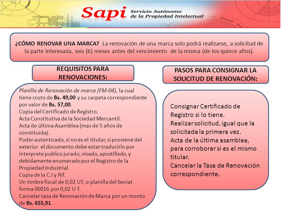 REQUISITOS PARA RENOVACIONES: