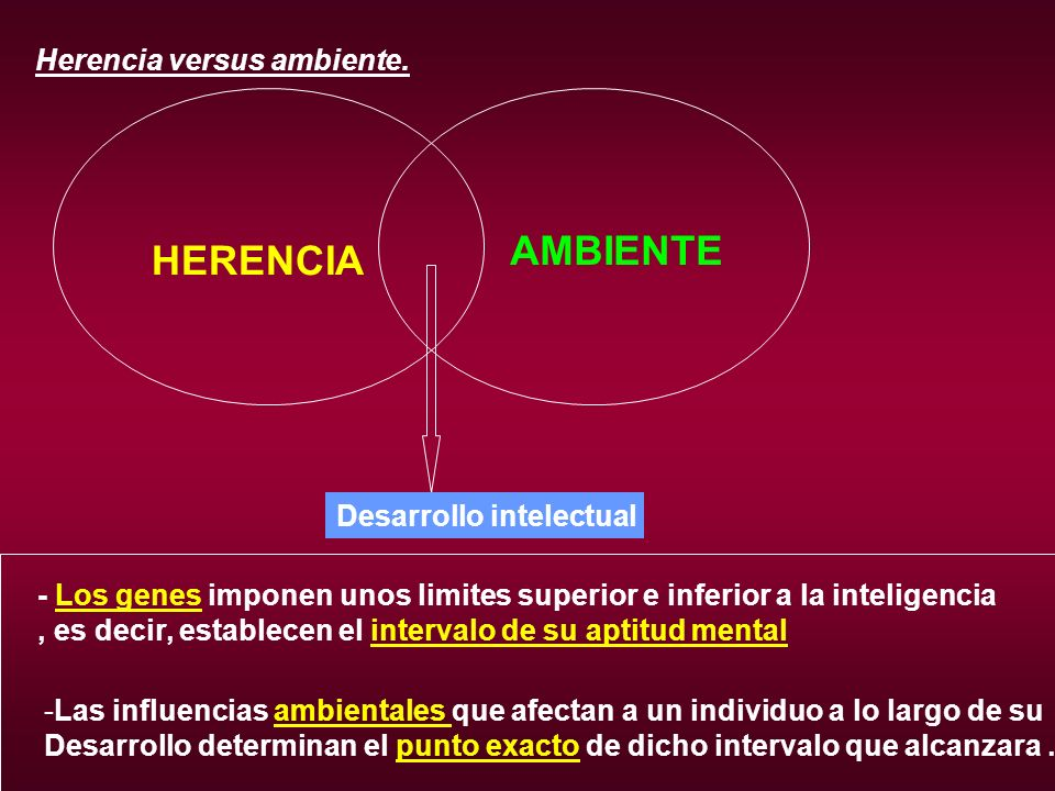 AMBIENTE HERENCIA Herencia versus ambiente. Desarrollo intelectual