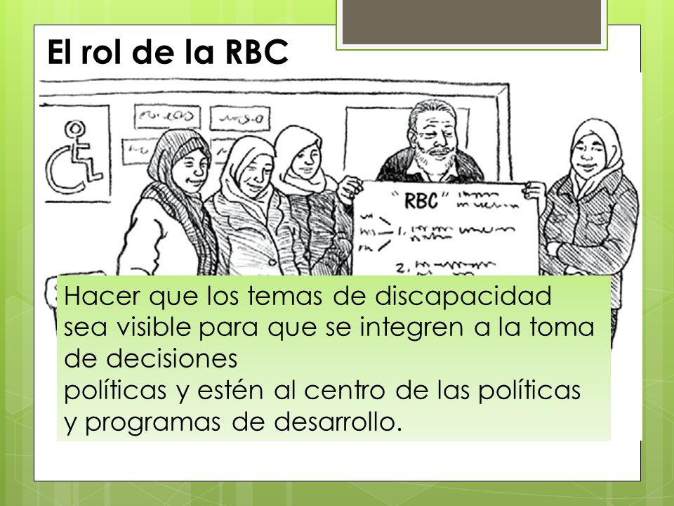 El rol de la RBC Hacer que los temas de discapacidad sea visible para que se integren a la toma de decisiones.