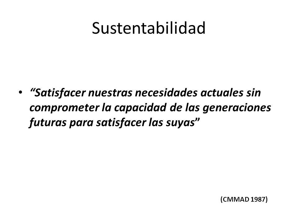 Sustentabilidad Satisfacer nuestras necesidades actuales sin comprometer la capacidad de las generaciones futuras para satisfacer las suyas